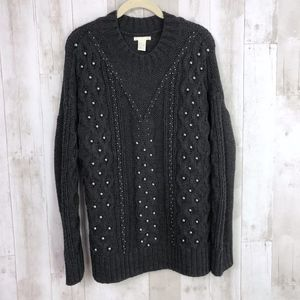 H&M Studded Embellished Chunky Knit Cozy Sweater